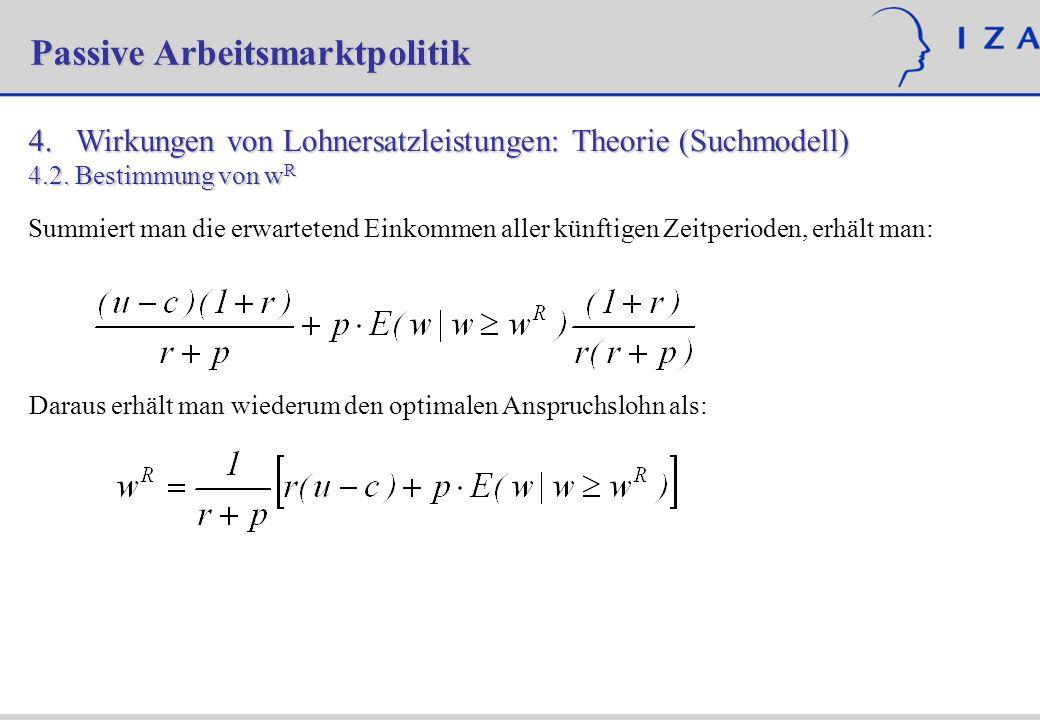 4. Wirkungen von Lohnersatzleistungen: Theorie (Suchmodell) 4.2.Bestimmung von w R Summiert man die erwartetend Einkommen aller künftigen Zeitperioden
