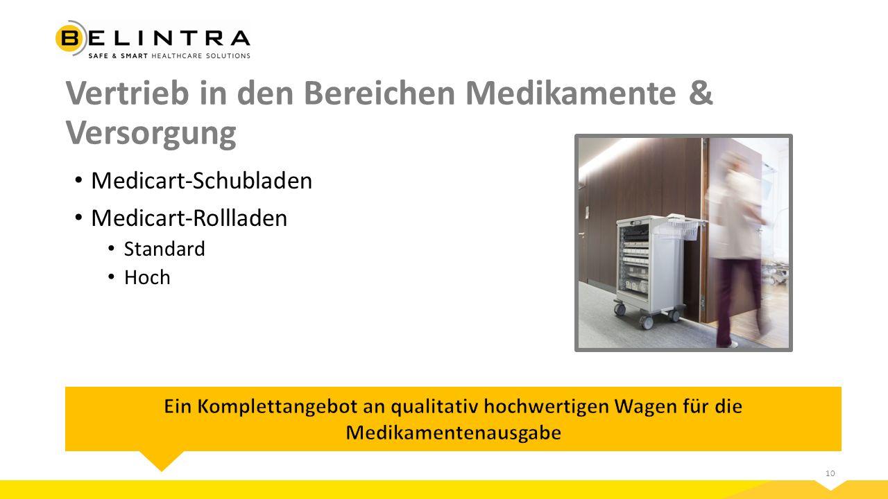10 Vertrieb in den Bereichen Medikamente & Versorgung Medicart-Schubladen Medicart-Rollladen Standard Hoch