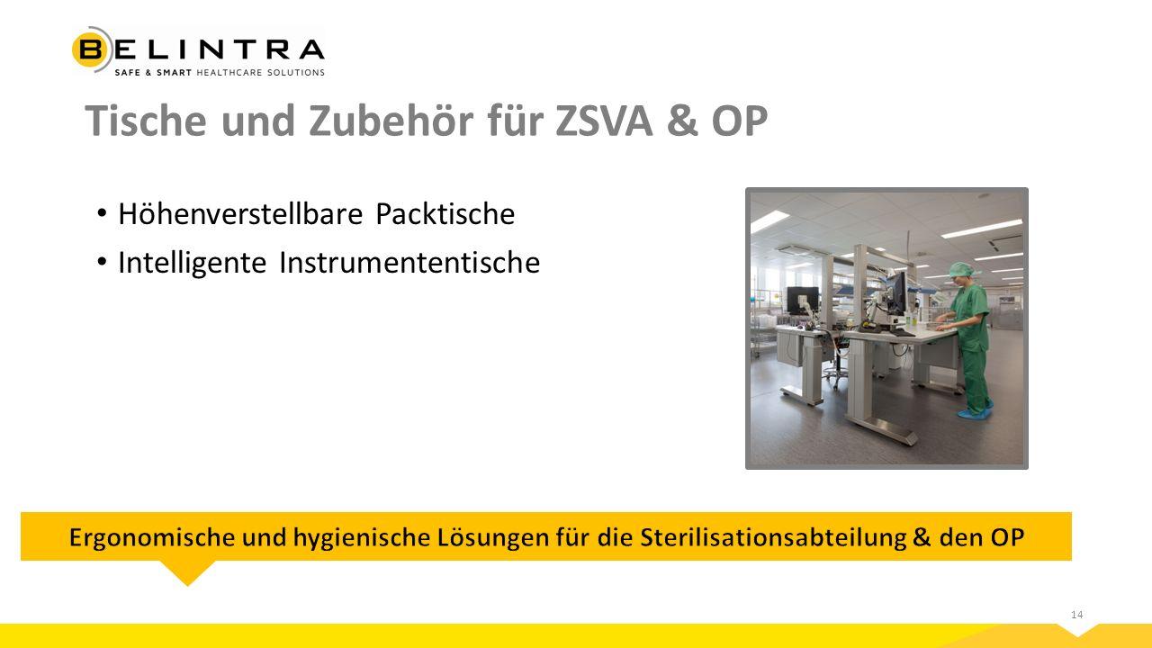 14 Tische und Zubehör für ZSVA & OP Höhenverstellbare Packtische Intelligente Instrumententische