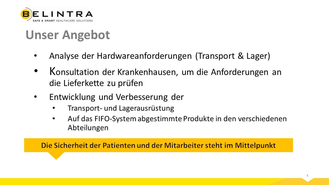 8 Unser Angebot Analyse der Hardwareanforderungen (Transport & Lager) K onsultation der Krankenhausen, um die Anforderungen an die Lieferkette zu prüfen Entwicklung und Verbesserung der Transport- und Lagerausrüstung Auf das FIFO-System abgestimmte Produkte in den verschiedenen Abteilungen