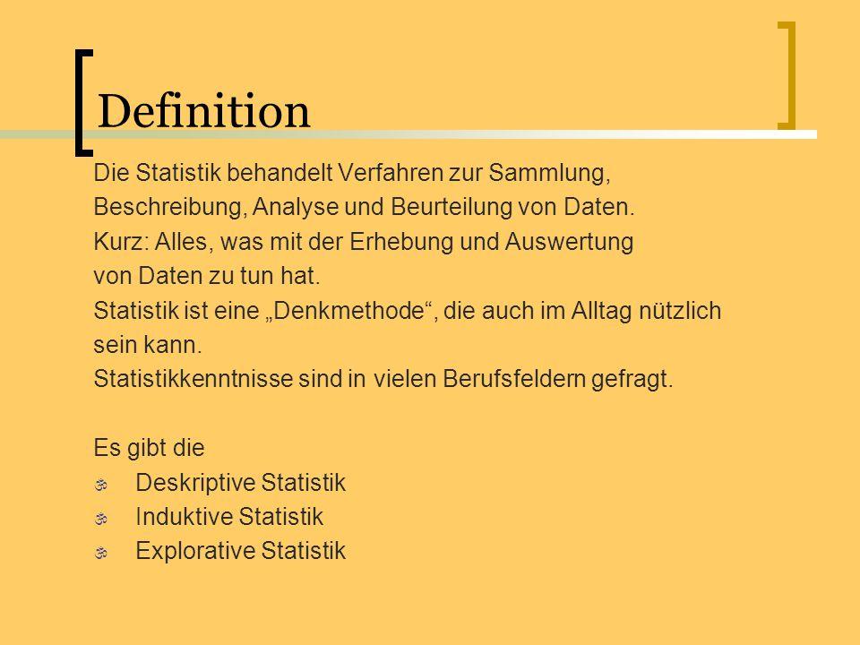 Definition Die Statistik behandelt Verfahren zur Sammlung, Beschreibung, Analyse und Beurteilung von Daten. Kurz: Alles, was mit der Erhebung und Ausw