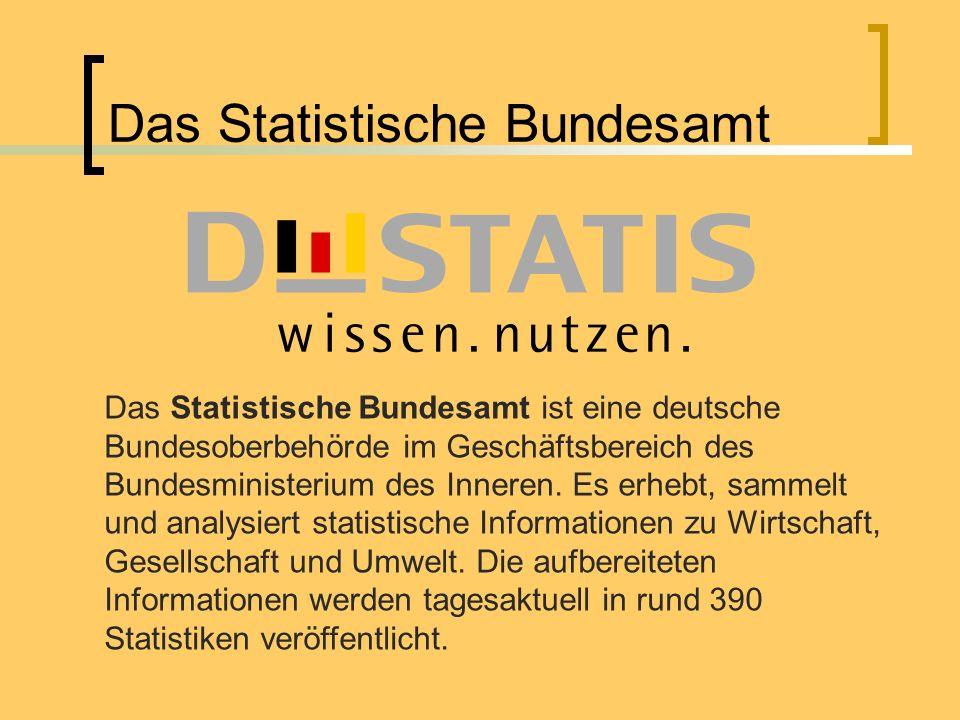 Das Statistische Bundesamt Das Statistische Bundesamt ist eine deutsche Bundesoberbehörde im Geschäftsbereich des Bundesministerium des Inneren. Es er