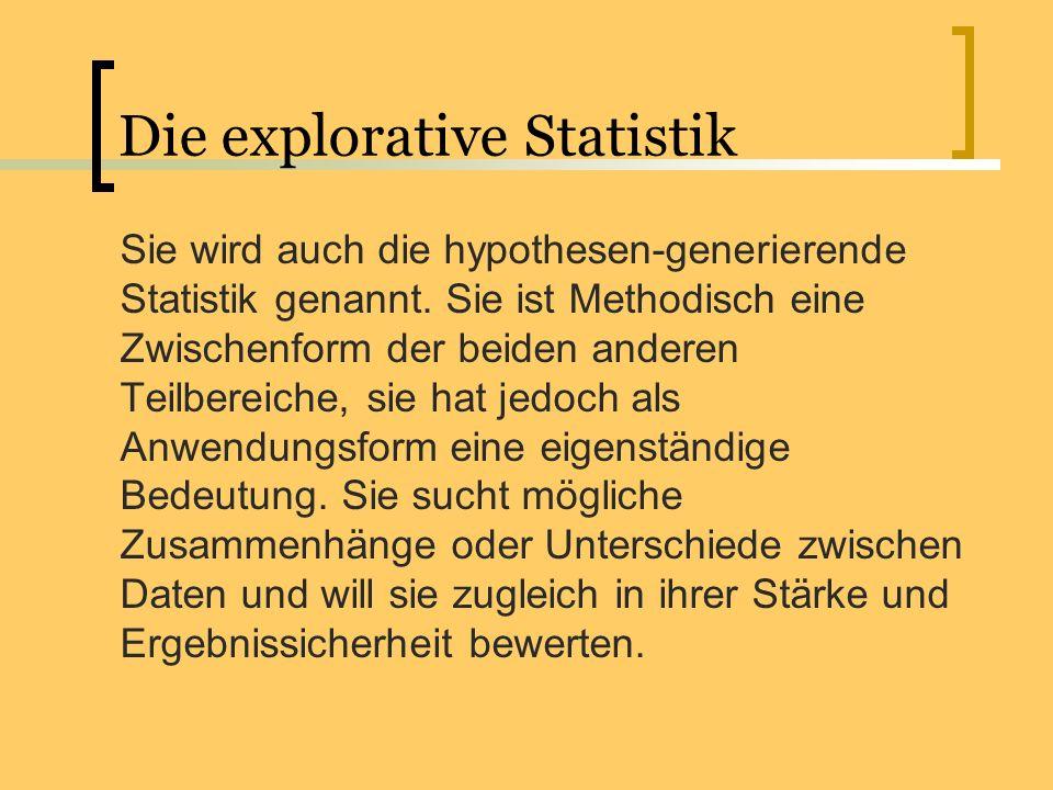 Die explorative Statistik Sie wird auch die hypothesen-generierende Statistik genannt. Sie ist Methodisch eine Zwischenform der beiden anderen Teilber