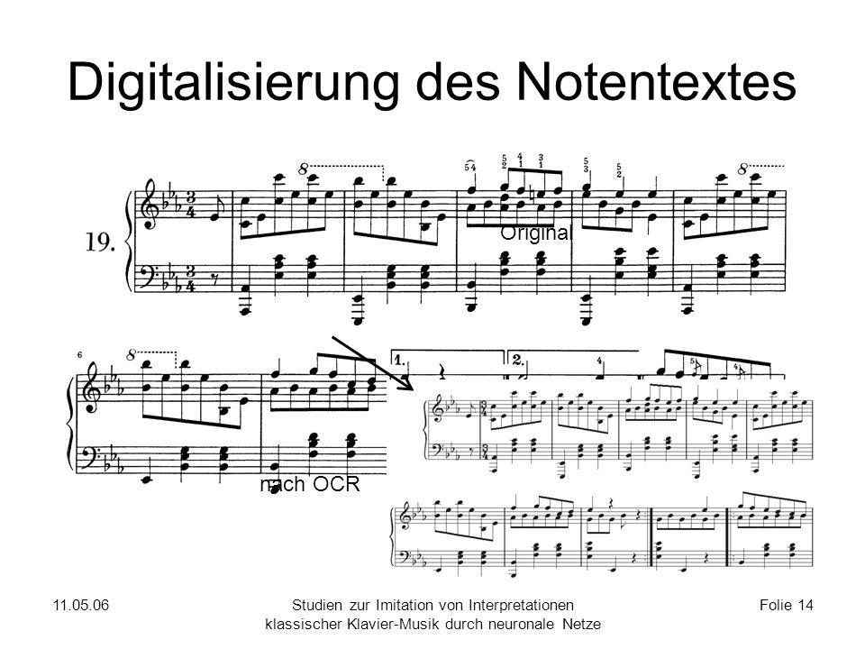 11.05.06Studien zur Imitation von Interpretationen klassischer Klavier-Musik durch neuronale Netze Folie 14 Digitalisierung des Notentextes Original nach OCR