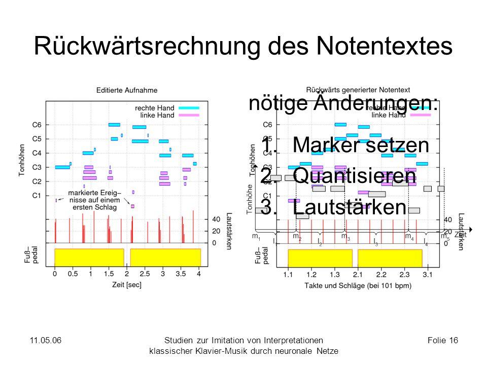 11.05.06Studien zur Imitation von Interpretationen klassischer Klavier-Musik durch neuronale Netze Folie 16 Rückwärtsrechnung des Notentextes nötige Änderungen: 1.Marker setzen 2.Quantisieren 3.Lautstärken