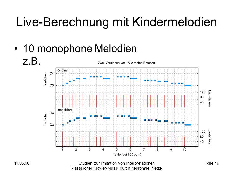 11.05.06Studien zur Imitation von Interpretationen klassischer Klavier-Musik durch neuronale Netze Folie 19 Live-Berechnung mit Kindermelodien 10 monophone Melodien z.B.