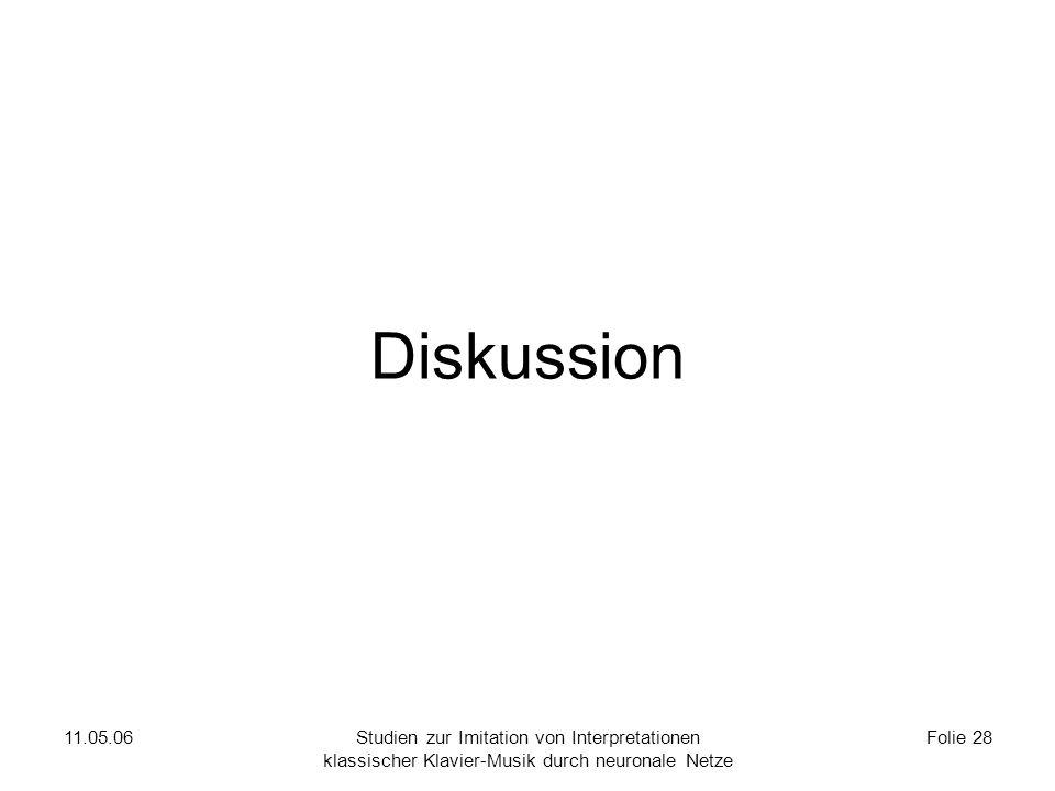 11.05.06Studien zur Imitation von Interpretationen klassischer Klavier-Musik durch neuronale Netze Folie 28 Diskussion