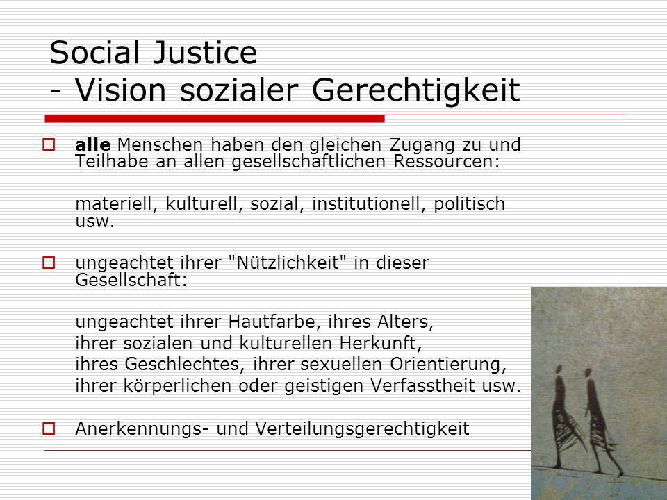 Social Justice - Vision sozialer Gerechtigkeit alle Menschen haben den gleichen Zugang zu und Teilhabe an allen gesellschaftlichen Ressourcen: materiell, kulturell, sozial, institutionell, politisch usw.