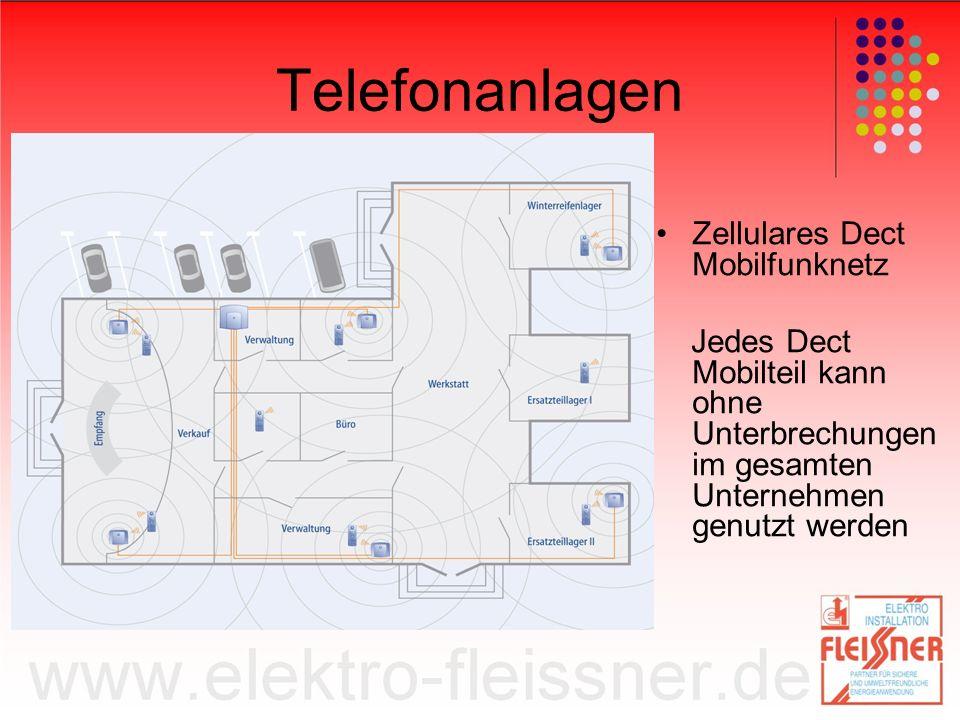 Telefonanlagen Zellulares Dect Mobilfunknetz Jedes Dect Mobilteil kann ohne Unterbrechungen im gesamten Unternehmen genutzt werden