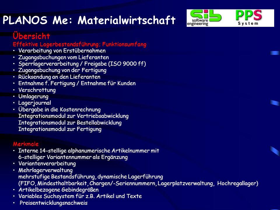 PLANOS Me: Materialwirtschaft Teilestatus für den Lebenszyklus Zugriff auf Textkonserven / Individualtexte Beschaffungsvorschläge (Mindestbestände) Lagerbewegungen incl.