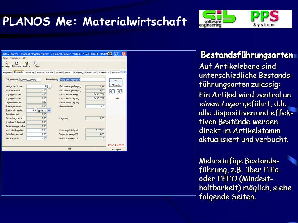 PLANOS Me: Materialwirtschaft Inventurkorrektur Inventurdifferenzen kön- nen über die Korrektur- funktion jederzeit zur Aktualisierung des Lager- bestandes gebucht werden.