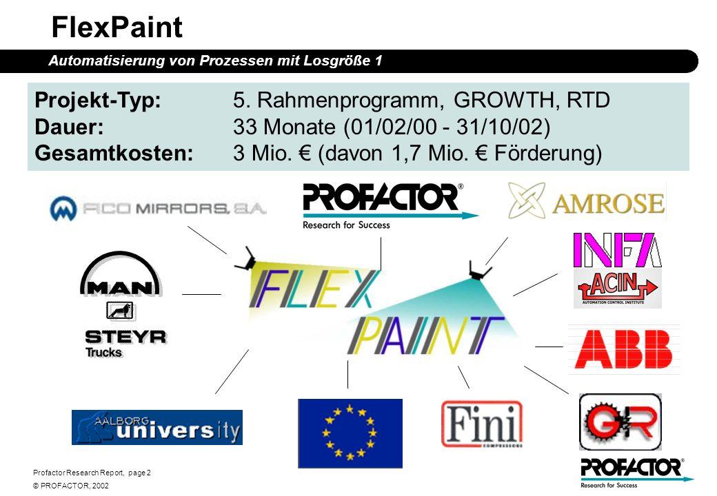 Profactor Research Report, page 13 © PROFACTOR, 2002 FlexPaint - Inverser Ansatz Automatisierung von Prozessen mit Losgröße 1 Erfassen der 3D-Geometrie Planen des Lackierprozesses Extrahieren relevanter Merkmale Berechnen einer kollisionsfreien Roboterbewegun g