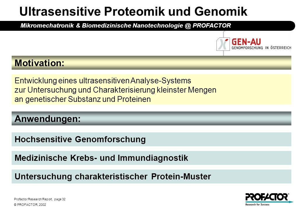 Profactor Research Report, page 32 © PROFACTOR, 2002 Motivation: Ultrasensitive Proteomik und Genomik Anwendungen: Entwicklung eines ultrasensitiven A