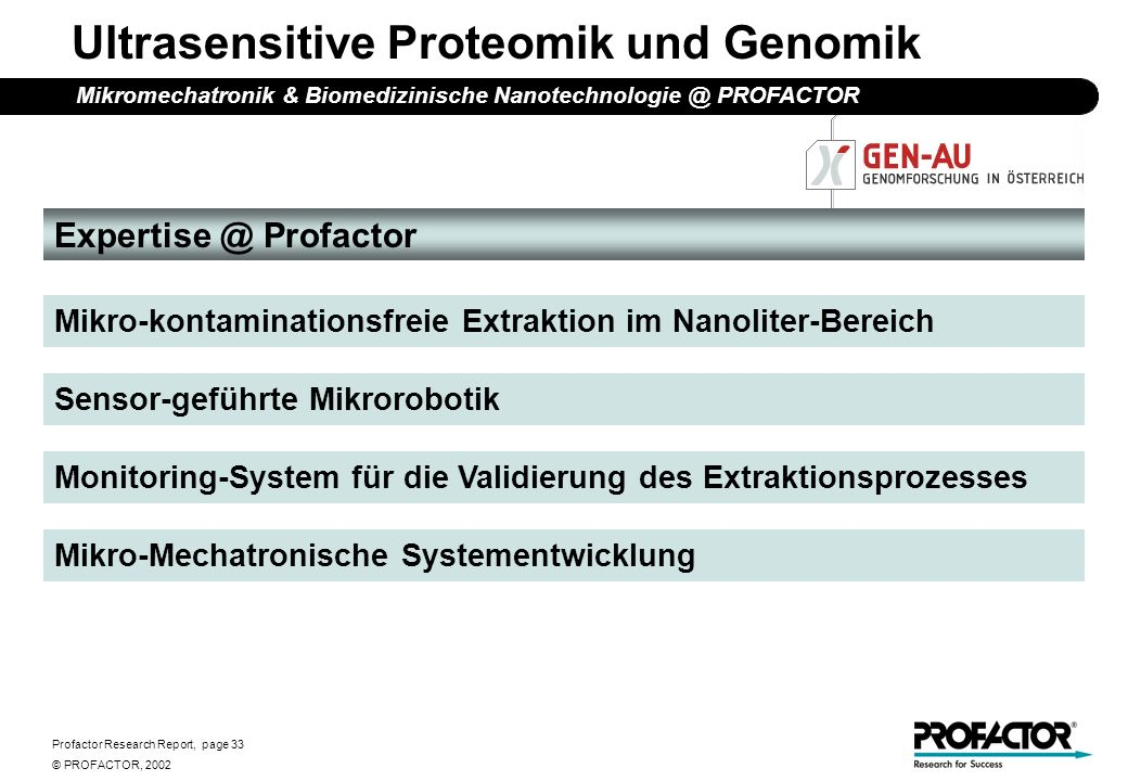 Profactor Research Report, page 33 © PROFACTOR, 2002 Ultrasensitive Proteomik und Genomik Expertise @ Profactor Mikro-kontaminationsfreie Extraktion i