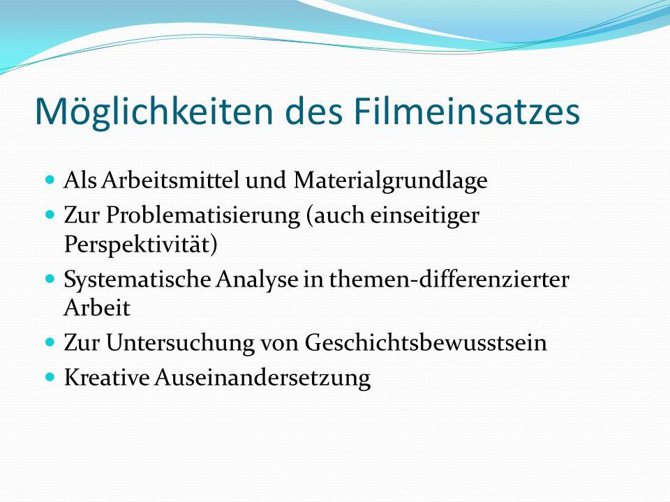 Möglichkeiten des Filmeinsatzes Als Arbeitsmittel und Materialgrundlage Zur Problematisierung (auch einseitiger Perspektivität) Systematische Analyse