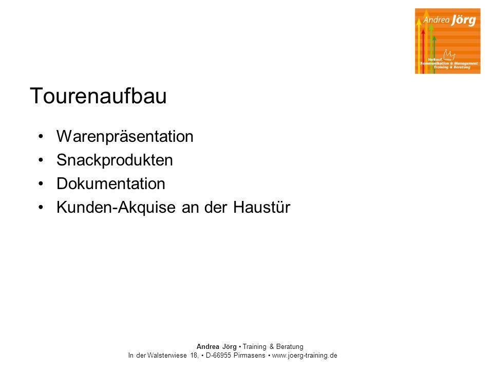 Andrea Jörg Training & Beratung In der Walsterwiese 18, D-66955 Pirmasens www.joerg-training.de Tourenaufbau Warenpräsentation Snackprodukten Dokument
