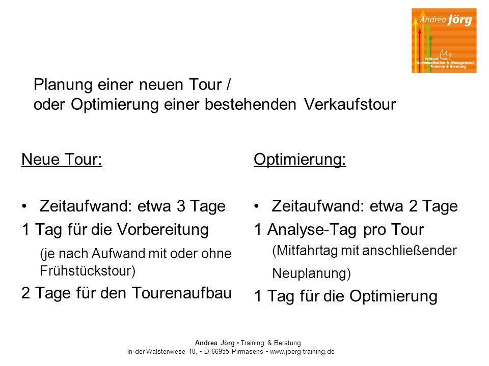 Andrea Jörg Training & Beratung In der Walsterwiese 18, D-66955 Pirmasens www.joerg-training.de Planung einer neuen Tour / oder Optimierung einer best