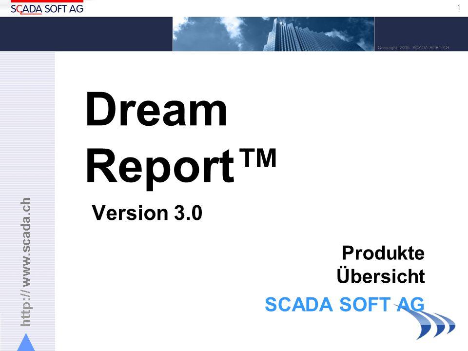 http:// www.scada.ch 22 Copyright 2005 SCADA SOFT AG Designer – Reporteinstellungen Reportformat: PDF (Acrobat) statisch (der vorhergehende Report wird ersetzt) dynamisch (mit Zeit/Datum- oder numerischem Zusatz) Unlimitierte Reportarchive Optionen zur Generierung: –Zeitabhängig (z.