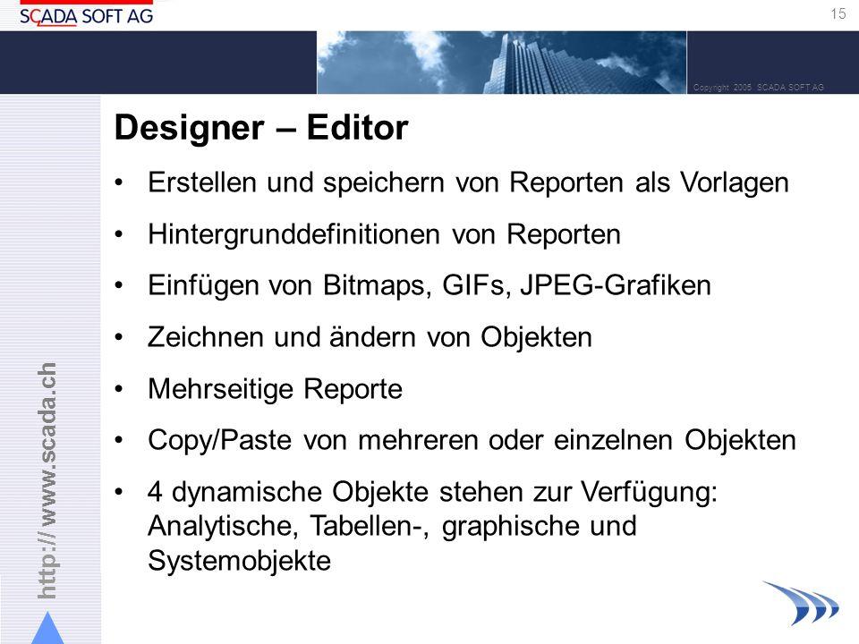http:// www.scada.ch 15 Copyright 2005 SCADA SOFT AG Designer – Editor Erstellen und speichern von Reporten als Vorlagen Hintergrunddefinitionen von Reporten Einfügen von Bitmaps, GIFs, JPEG-Grafiken Zeichnen und ändern von Objekten Mehrseitige Reporte Copy/Paste von mehreren oder einzelnen Objekten 4 dynamische Objekte stehen zur Verfügung: Analytische, Tabellen-, graphische und Systemobjekte