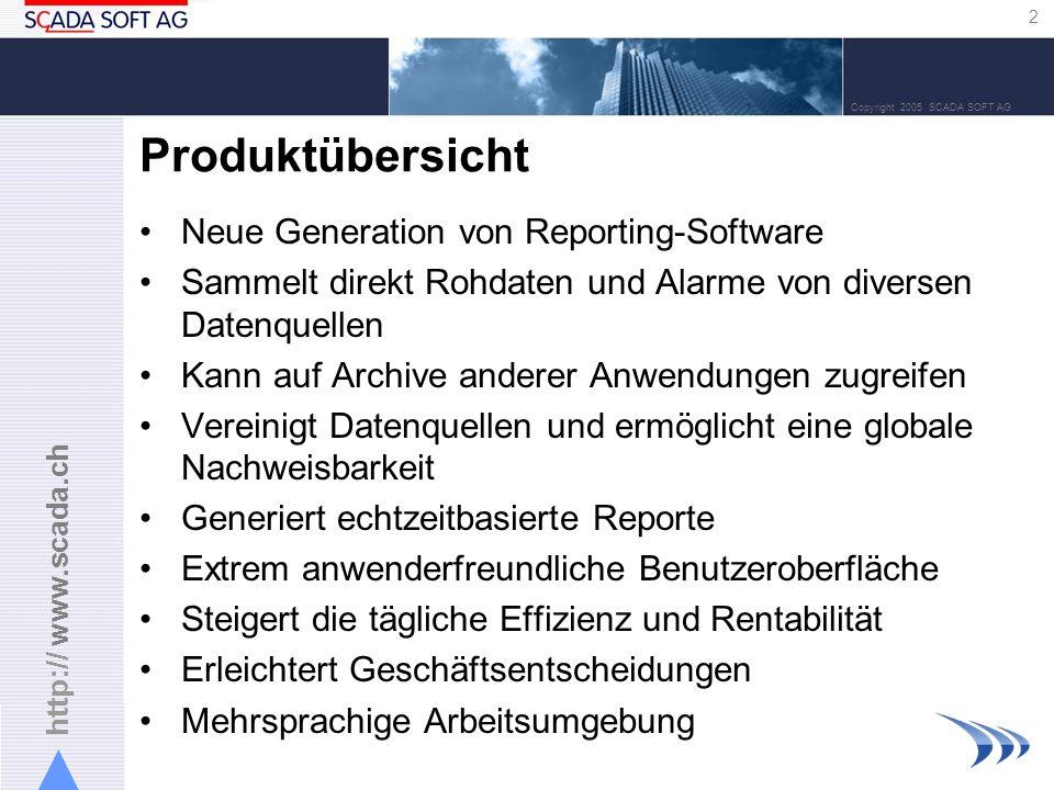 http:// www.scada.ch 2 Copyright 2005 SCADA SOFT AG Produktübersicht Neue Generation von Reporting-Software Sammelt direkt Rohdaten und Alarme von div