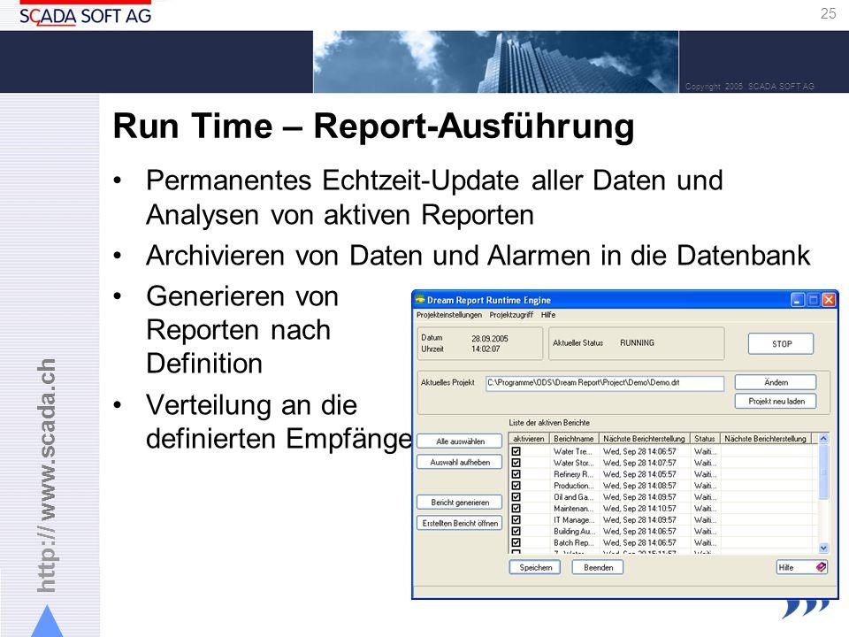 http:// www.scada.ch 25 Copyright 2005 SCADA SOFT AG Run Time – Report-Ausführung Permanentes Echtzeit-Update aller Daten und Analysen von aktiven Reporten Archivieren von Daten und Alarmen in die Datenbank Generieren von Reporten nach Definition Verteilung an die definierten Empfänger