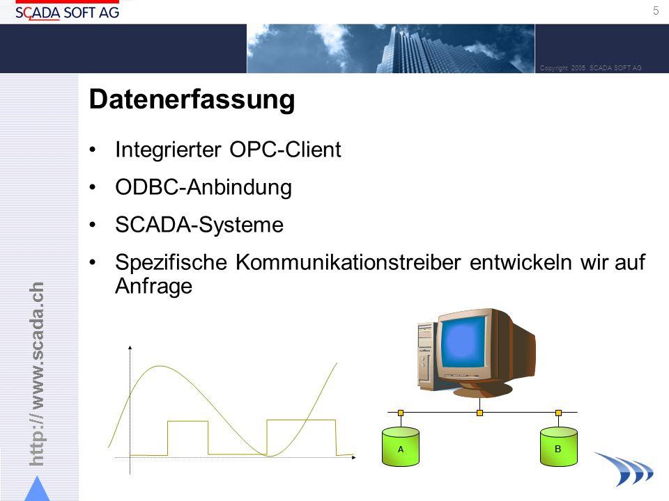 http:// www.scada.ch 5 Copyright 2005 SCADA SOFT AG Datenerfassung Integrierter OPC-Client ODBC-Anbindung SCADA-Systeme Spezifische Kommunikationstrei