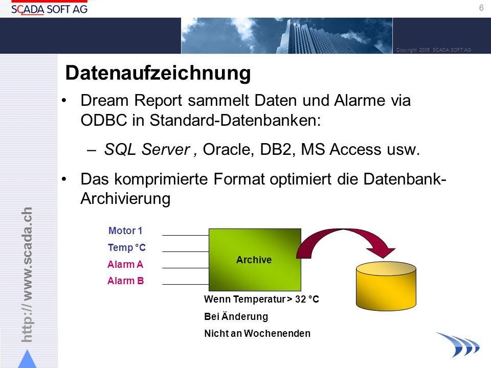 http:// www.scada.ch 6 Copyright 2005 SCADA SOFT AG Datenaufzeichnung Dream Report sammelt Daten und Alarme via ODBC in Standard-Datenbanken: –SQL Ser