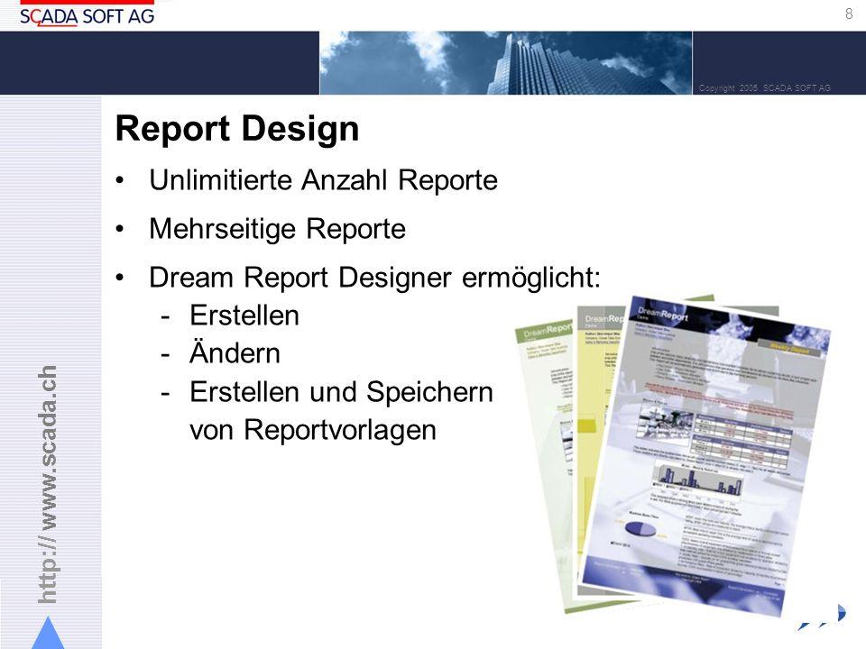 http:// www.scada.ch 9 Copyright 2005 SCADA SOFT AG Reportgenerierung und -verteilung Jeder Report hat seine eigenen Einstellungen für die Generierung und Verteilung Reporte werden im PDF-Format (Acrobat) generiert: –Zeitgesteuert –Ereignisgesteuert –Generierung auf Verlangen Automatische Verteilung der Reporte : –An alle/ausgewählte Drucker im Netzwerk –An vordefinierte E-Mail-Empfänger –An beliebige Datei-Server –An das abgesicherte Web-Portal