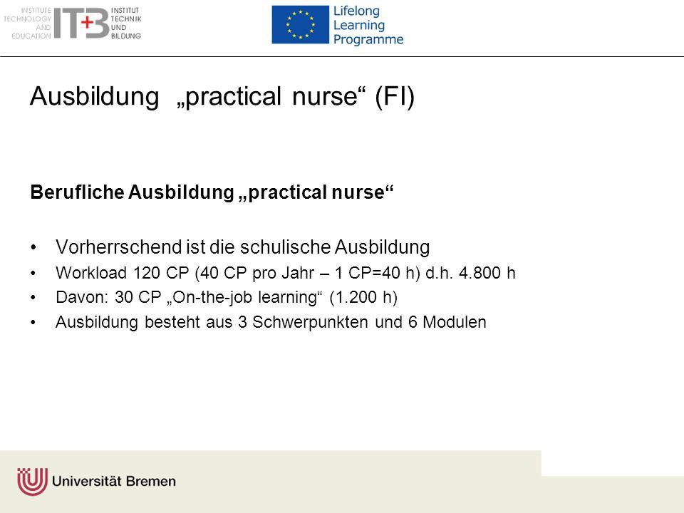Ausbildung practical nurse (FI) Berufliche Ausbildung practical nurse Vorherrschend ist die schulische Ausbildung Workload 120 CP (40 CP pro Jahr – 1