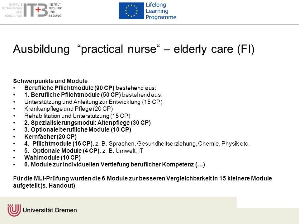 Ausbildung practical nurse – elderly care (FI) Schwerpunkte und Module Berufliche Pflichtmodule (90 CP) bestehend aus: 1. Berufliche Pflichtmodule (50