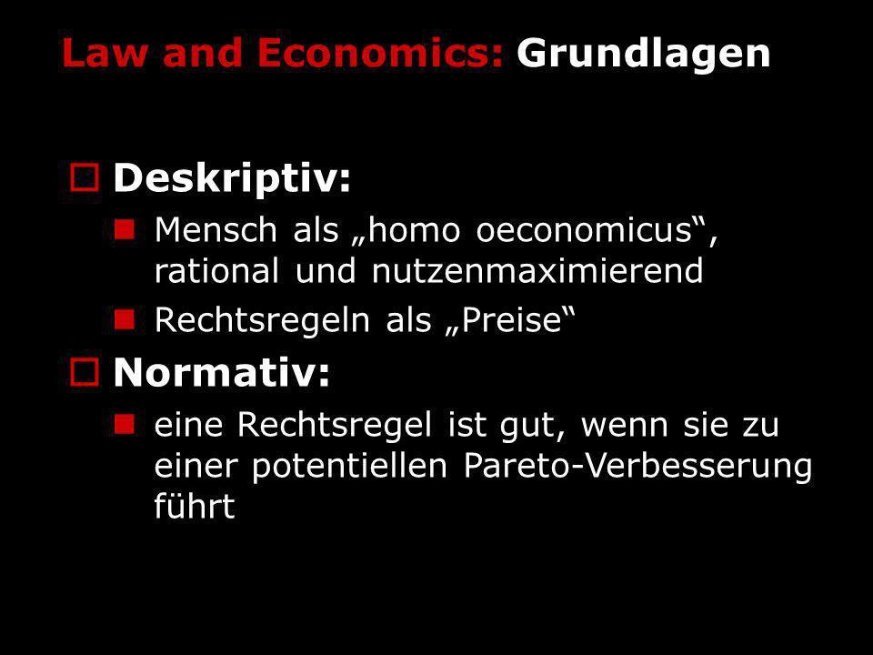 Law and Economics: Grundlagen Deskriptiv: Mensch als homo oeconomicus, rational und nutzenmaximierend Rechtsregeln als Preise Normativ: eine Rechtsreg