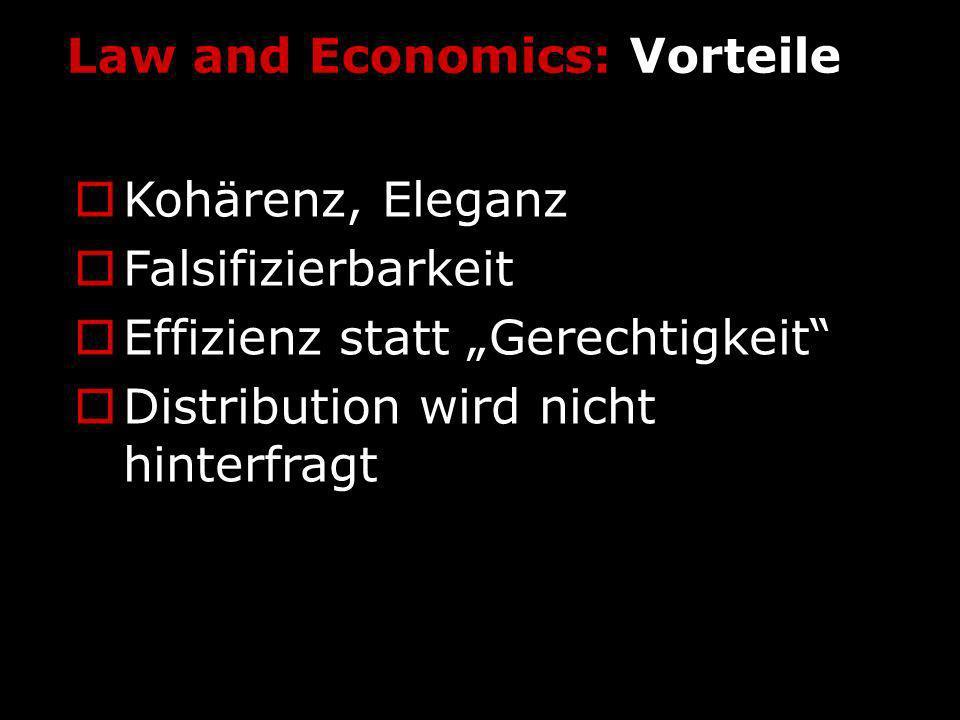 Law and Economics: Vorteile Kohärenz, Eleganz Falsifizierbarkeit Effizienz statt Gerechtigkeit Distribution wird nicht hinterfragt