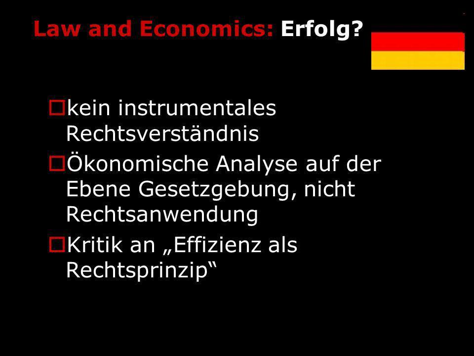 Law and Economics: Erfolg? kein instrumentales Rechtsverständnis Ökonomische Analyse auf der Ebene Gesetzgebung, nicht Rechtsanwendung Kritik an Effiz