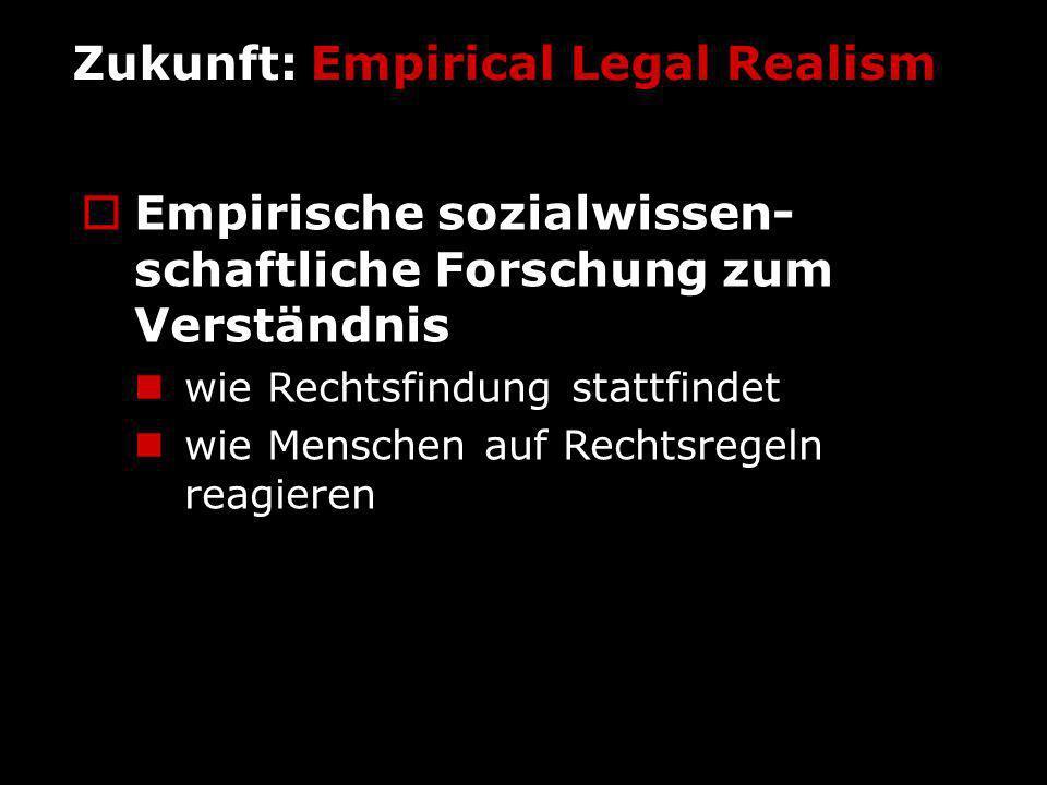 Zukunft: Empirical Legal Realism Empirische sozialwissen- schaftliche Forschung zum Verständnis wie Rechtsfindung stattfindet wie Menschen auf Rechtsr