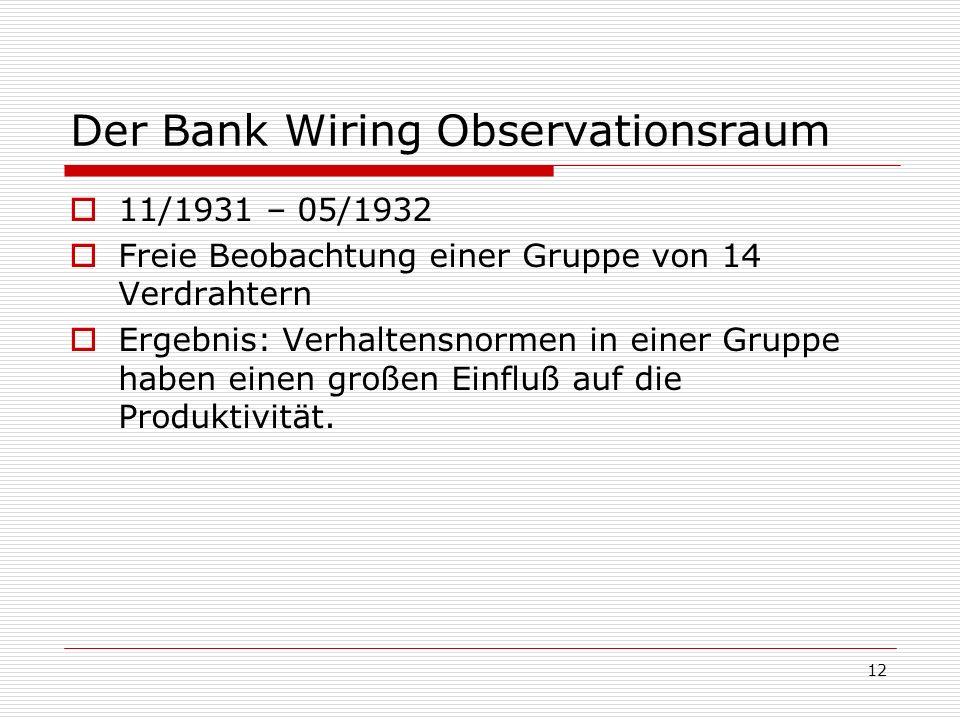 12 Der Bank Wiring Observationsraum 11/1931 – 05/1932 Freie Beobachtung einer Gruppe von 14 Verdrahtern Ergebnis: Verhaltensnormen in einer Gruppe hab