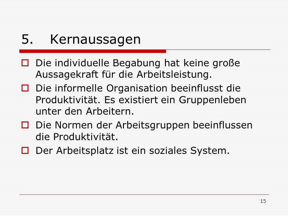 15 5.Kernaussagen Die individuelle Begabung hat keine große Aussagekraft für die Arbeitsleistung. Die informelle Organisation beeinflusst die Produkti