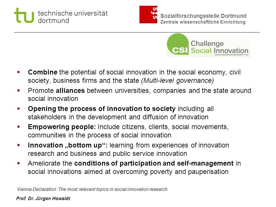 Sozialforschungsstelle Dortmund Zentrale wissenschaftliche Einrichtung Prof. Dr. Jürgen Howaldt Combine the potential of social innovation in the soci
