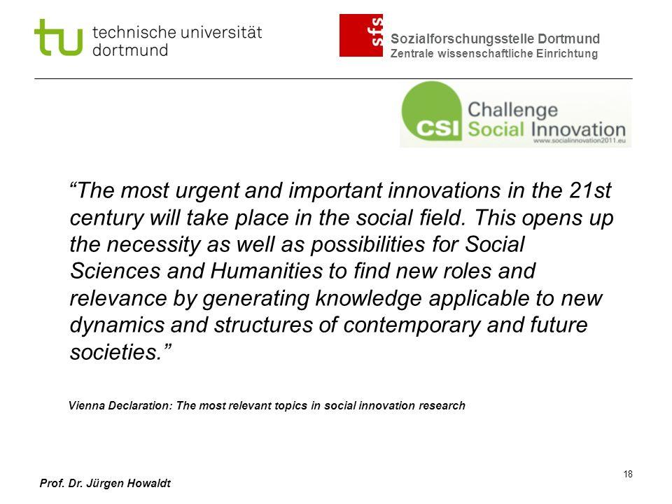 Sozialforschungsstelle Dortmund Zentrale wissenschaftliche Einrichtung Prof. Dr. Jürgen Howaldt 18 The most urgent and important innovations in the 21
