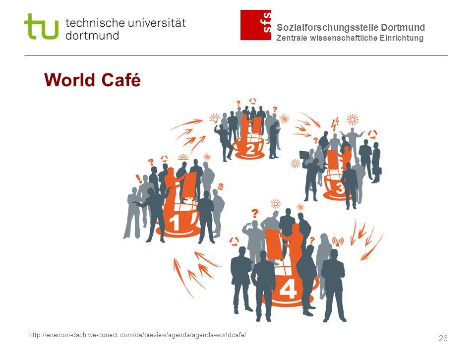 Sozialforschungsstelle Dortmund Zentrale wissenschaftliche Einrichtung World Café 26 http://enercon-dach.we-conect.com/de/preview/agenda/agenda-worldc