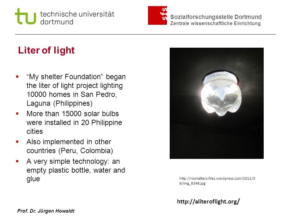 Sozialforschungsstelle Dortmund Zentrale wissenschaftliche Einrichtung Prof. Dr. Jürgen Howaldt Liter of light My shelter Foundation began the liter o