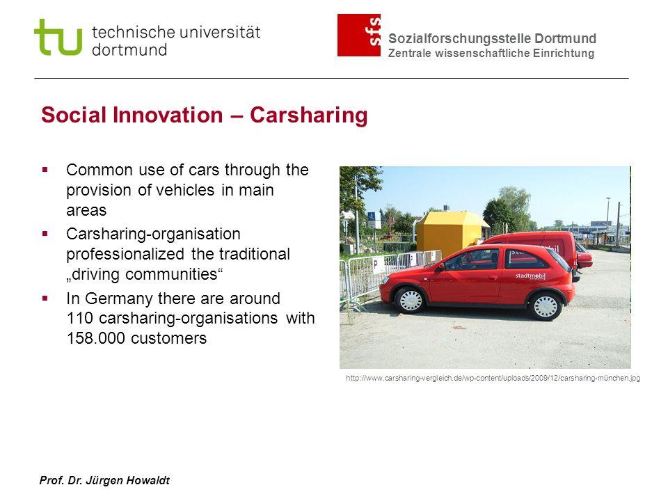 Sozialforschungsstelle Dortmund Zentrale wissenschaftliche Einrichtung Prof. Dr. Jürgen Howaldt Social Innovation – Carsharing Common use of cars thro