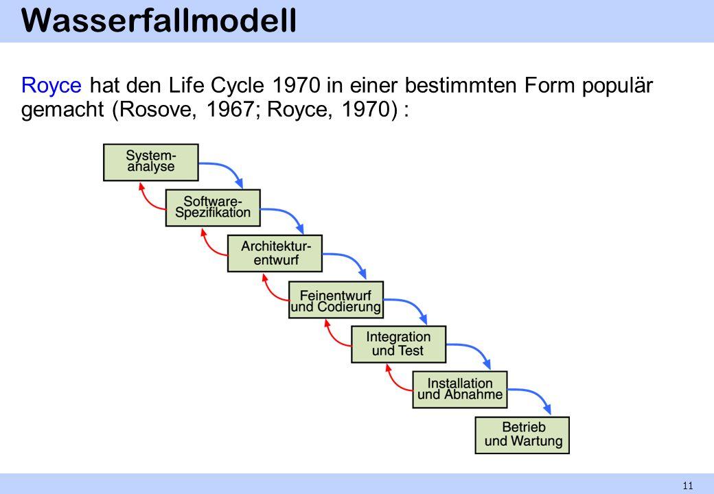 Wasserfallmodell Royce hat den Life Cycle 1970 in einer bestimmten Form populär gemacht (Rosove, 1967; Royce, 1970) : 11