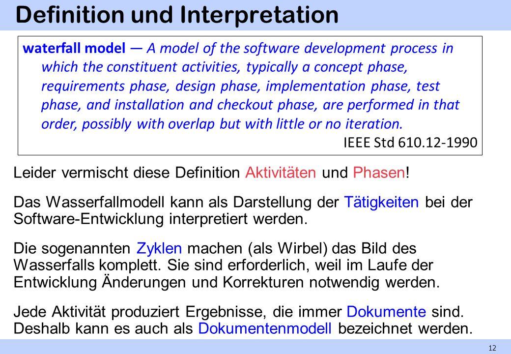 Definition und Interpretation Leider vermischt diese Definition Aktivitäten und Phasen! Das Wasserfallmodell kann als Darstellung der Tätigkeiten bei