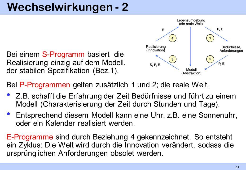 Wechselwirkungen - 2 Bei einem S-Programm basiert die Realisierung einzig auf dem Modell, der stabilen Spezifikation (Bez.1). Bei P-Programmen gelten