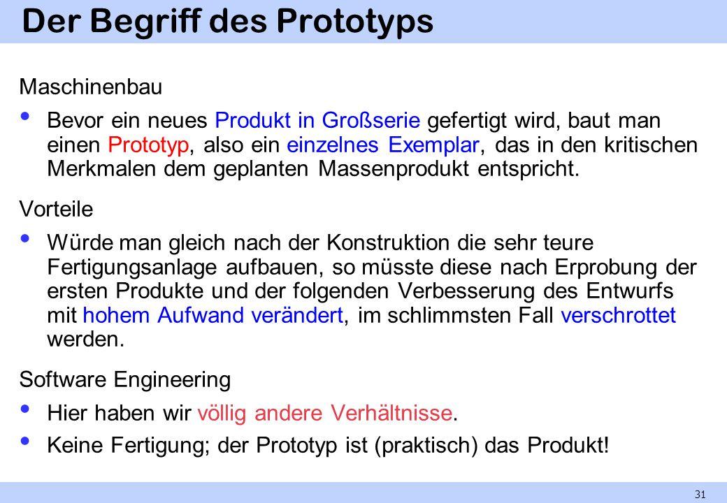 Der Begriff des Prototyps Maschinenbau Bevor ein neues Produkt in Großserie gefertigt wird, baut man einen Prototyp, also ein einzelnes Exemplar, das