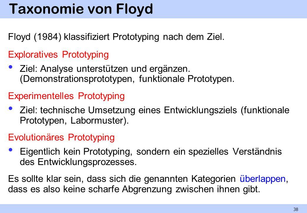 Taxonomie von Floyd Floyd (1984) klassifiziert Prototyping nach dem Ziel. Exploratives Prototyping Ziel: Analyse unterstützen und ergänzen. (Demonstra