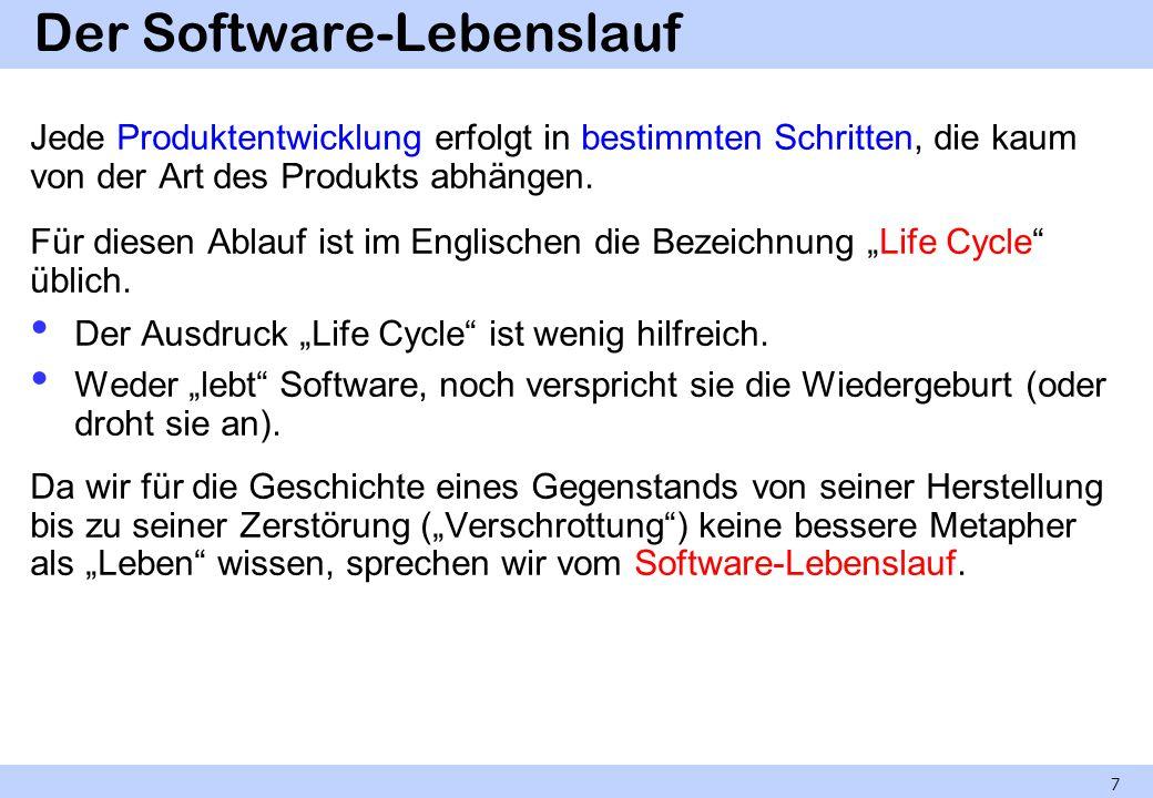 Der Software-Lebenslauf Jede Produktentwicklung erfolgt in bestimmten Schritten, die kaum von der Art des Produkts abhängen. Für diesen Ablauf ist im