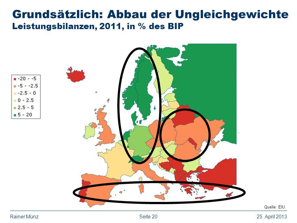 Seite 2025. April 2013Rainer Münz Grundsätzlich: Abbau der Ungleichgewichte Leistungsbilanzen, 2011, in % des BIP... Quelle: EIU