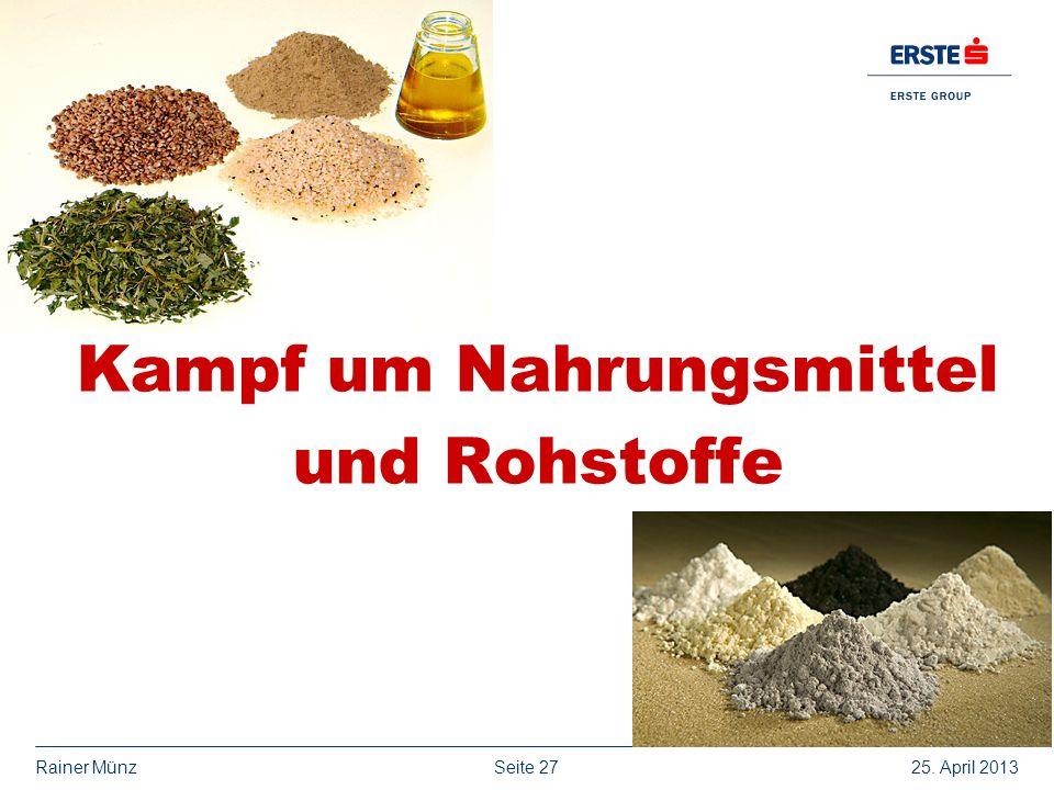 Seite 2725. April 2013Rainer Münz Kampf um Nahrungsmittel und Rohstoffe