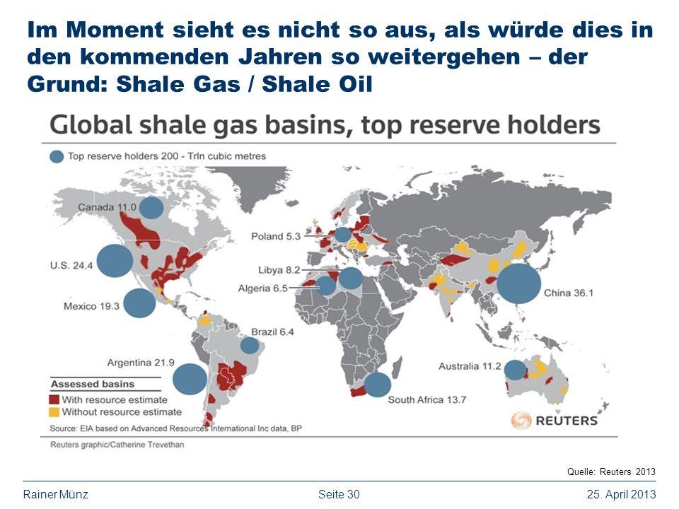 Seite 3025. April 2013Rainer Münz Im Moment sieht es nicht so aus, als würde dies in den kommenden Jahren so weitergehen – der Grund: Shale Gas / Shal